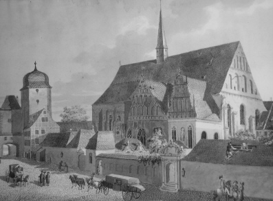 La iglesia de San Pablo, de la universidad de Leipzig, hacia 1790