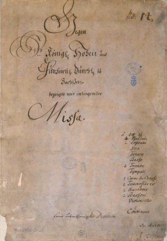 Portada original del manuscrito de la Misa en Si menor